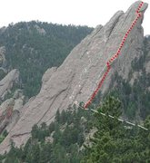 Rock Climbing Photo: Our route was along the red dotted line. The white...