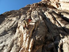 Rock Climbing Photo: Me just before clipping the econd bolt bolt.The ro...