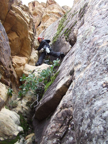 Rock Climbing Photo: Lynda on Emerald Cushion, P1
