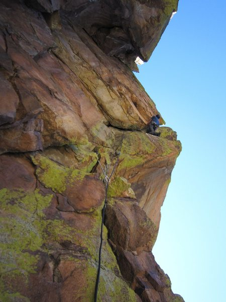 Seth M. reaches for something (anything) at the crux of Fear Of Flying (5.10).