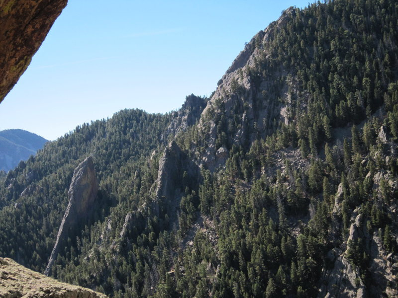 The Sibling, a reasonably-sized Flatiron in its own right, is the second tower in this photo, sitting just right (North) of the larger feature, the Matron. This is as seen from high on Jamcrack Spire, across Shadow Canyon.