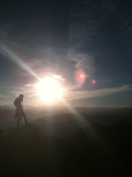 Munkel on the summit of GREYROCK.