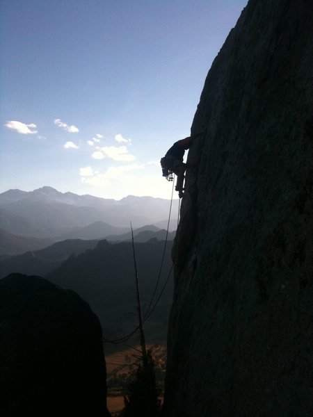 Jump the gap and run it out to the belay.