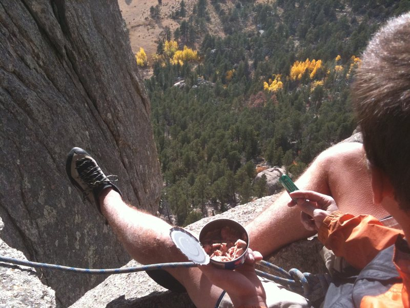 Rock Climbing Photo: Enjoying the view and a can of tuna from the belay...