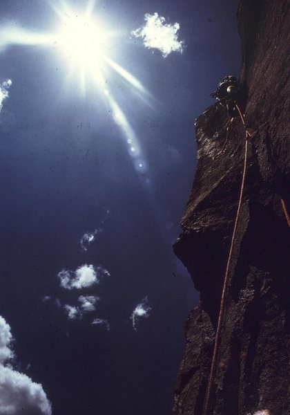 Rock Climbing Photo: Vlado leading P1 of Naked Edge in 1971.