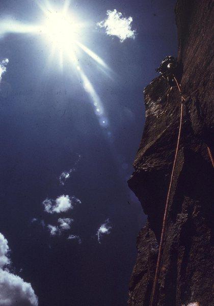 Rock Climbing Photo: Vlado leading P1 of Naked Edge in 1971.