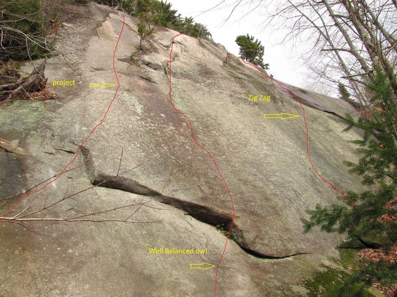First routes on the slab, as seen from atop the large hang out boulder.