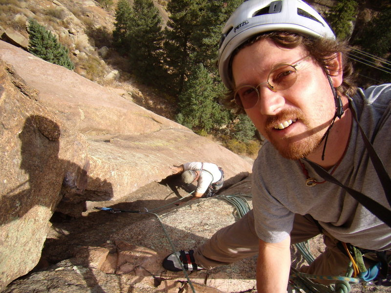"""Mike reaching the top of pitch one """"Classic Dihedral"""" Bucksnort Slabs , CO Oct 2010"""