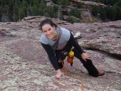 Rock Climbing Photo: Andi nearing the top of the third Flatiron, Boulde...