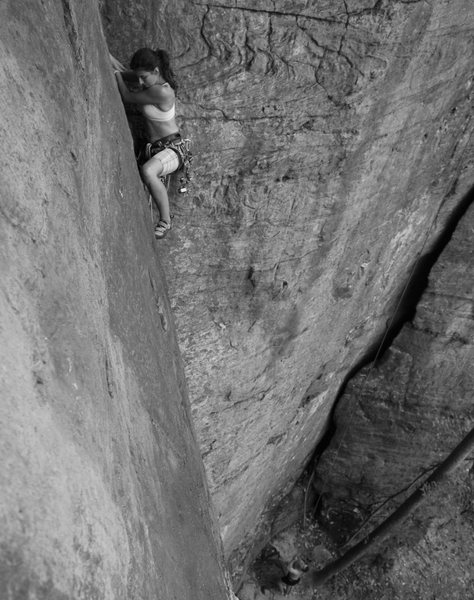 Sylvie on one of her first trad leads. Photo: Chris Drover