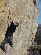 Rock Climbing Photo: brandon at the crux of rock pigs on a busy fall da...