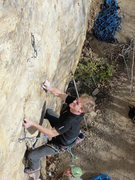 Rock Climbing Photo: brandon about at the second bolt of rock pigs, nov...