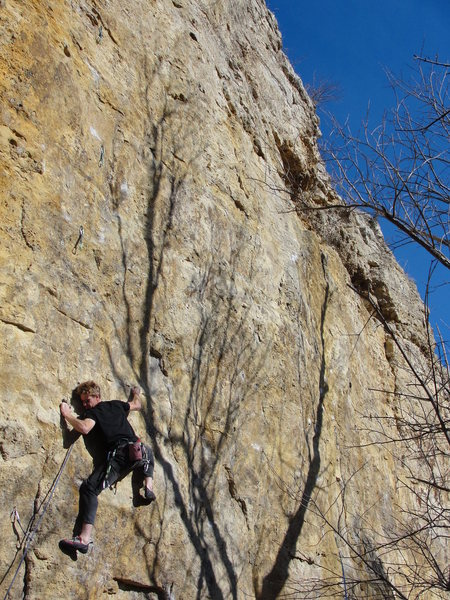 Rock Climbing Photo: brandon near the third bolt of rock pigs, november...