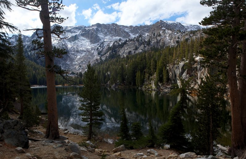 TJ Lake with the first winter snows on the Mammoth Crest.