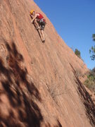 Rock Climbing Photo: Randy finishing the crux sequence on Arnold's Demi...