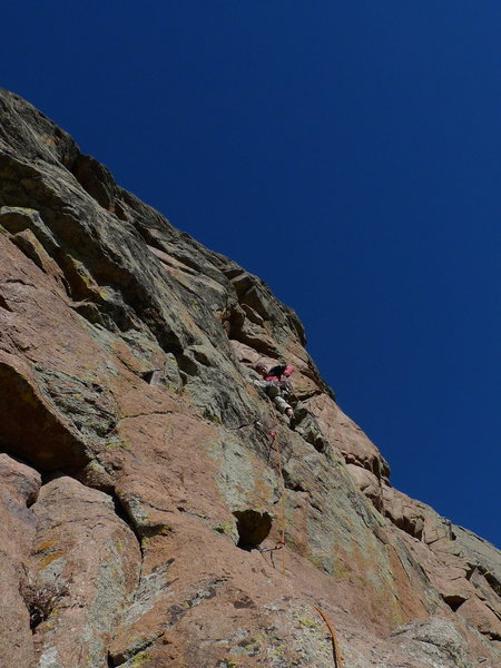 Rock Climbing Photo: Lee cruising the excellent 5.11 pitch.