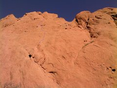 Rock Climbing Photo: Upper Finger Direct, showing the line and the prot...