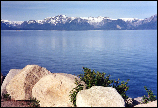 Lake Tahoe from Cave Rock State Park.<br> Photo by Blitzo.
