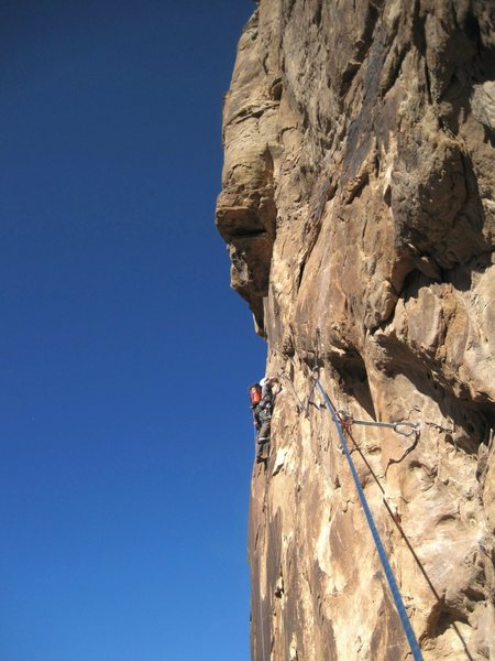 Third Pitch. Lance on the first ascent placing pro on lead. 17th Oct climb.