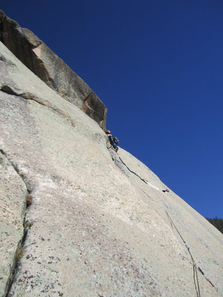 Rock Climbing Photo: Right in the middle of the 3rd pitch before making...