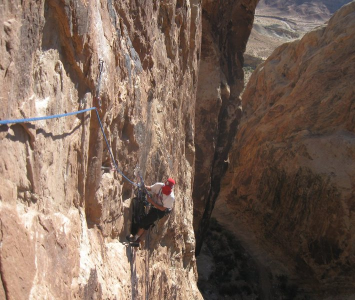 He was there again ..Hanging belay of third pitch.Photo Lance Bateman