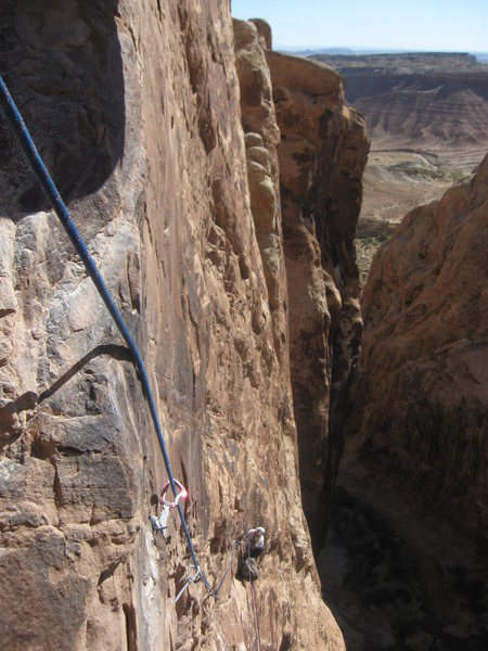 Looking back down third pitch to the hanging belay.First ascent photo Nov 6th. Photo Lance Bateman