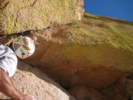 Rock Climbing Photo: overhanging layback at the beginning of P5