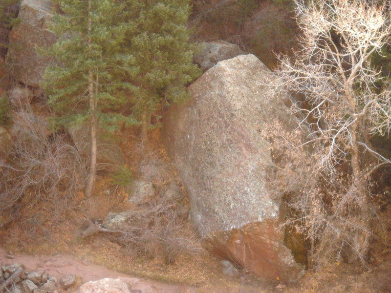 Trailhedral Rock, Hydrahedral climbs north-facing, right-leaning, sloper arete.  Consensus now has it at V8hb.