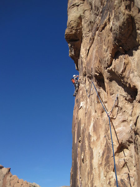 Rock Climbing Photo: Lance at the hanging belay at the start of the for...