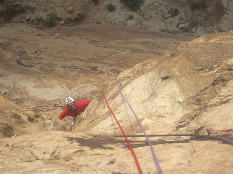 Rock Climbing Photo: Paul coming up the groove of the forth pitch. Phot...