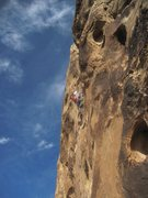 Rock Climbing Photo: Higher on the 5.11+ final pitch