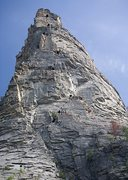 Rock Climbing Photo: Route is in black. Possible alternate approaches i...