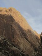 Rock Climbing Photo: Climber on the belay of the final pitch. Click to ...