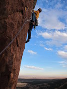 Rock Climbing Photo: The final 12a headwall pitch.  Photo by Joel Ander...