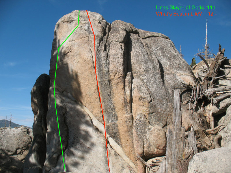 Unas climbs the green line in this photo. Photo by C. Miller.