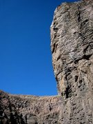 Rock Climbing Photo: Joel high up on the arete