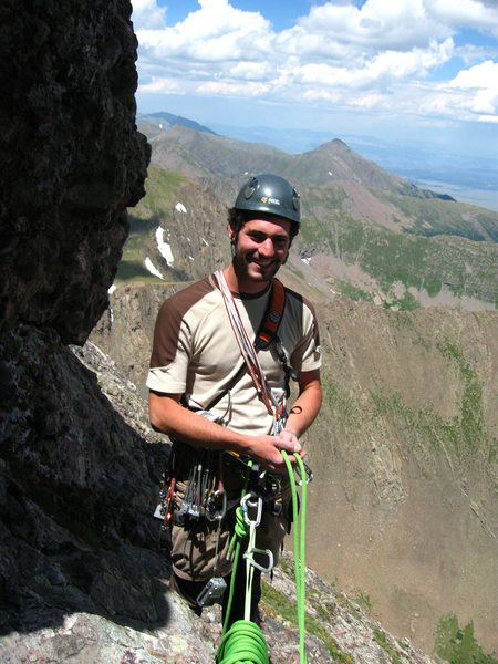 This photo is taken midway up Ellingwood Arete on Crestone Needle.