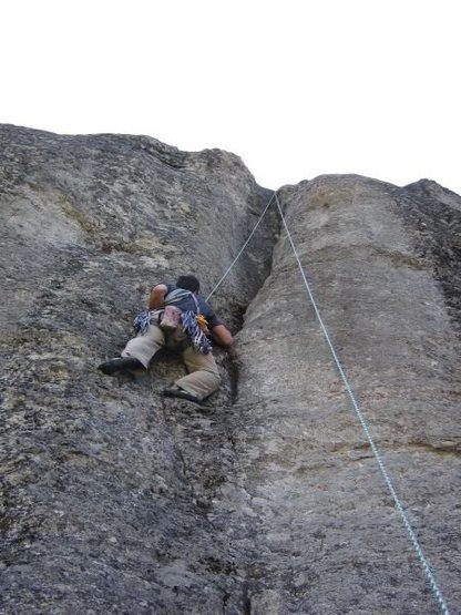 On my way up to the top of Minor Groove (5.9+) at Angel Creek Rocks.