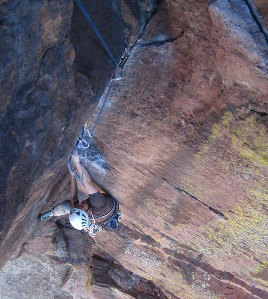 Chad at the end of the crux moves.