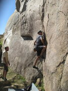 Rock Climbing Photo: Me working the opening moves on FiveNiner.