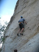 Rock Climbing Photo: Me leading Kissed by the Sun. On thee large boulde...
