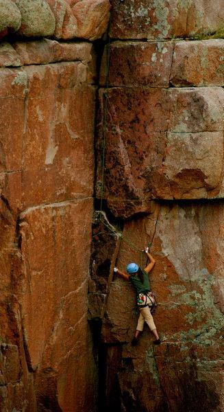 Rock Climbing Photo: Friend following friend on Carpenters Corner