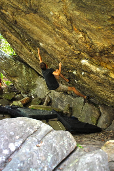 Rock Climbing Photo: Matt getting to the crux section on Moneyshot.