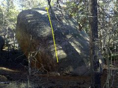 Rock Climbing Photo: Yellow line indicates problem.