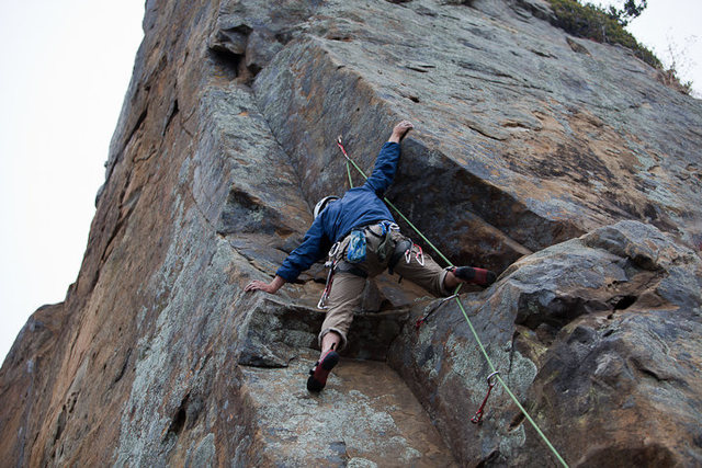 Rock Climbing Photo: At the 3rd bolt, just below the left facing corner...
