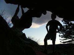 Rock Climbing Photo: Rubbin' the Skunk Rub at sunset.  - photo by Said.