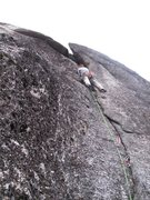 Rock Climbing Photo: Leading up the second pitch crack. Tight squeeze t...