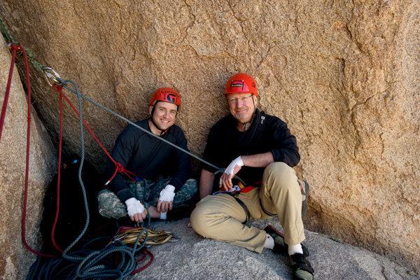 Rock Climbing Photo: Matthew & Michael enjoy the spacious belay ledge a...