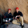 Matthew & Michael enjoy the spacious belay ledge atop P2 of Right On, Joshua Tree National Park.