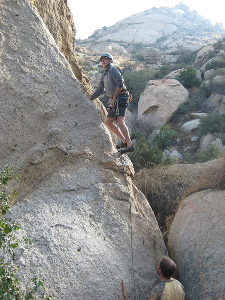 Rock Climbing Photo: Me leading Praise the Rays. On the boulder up the ...
